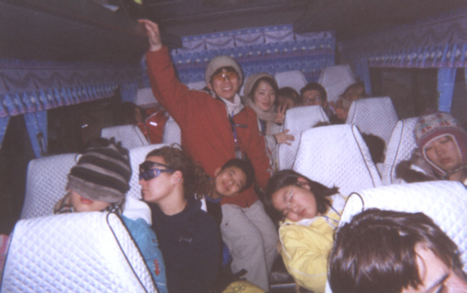 Pictures of English Camp Students traveling back from Korea ski resort