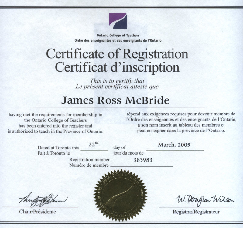 Copy of Ontario College of Teachers Certificate of Registration