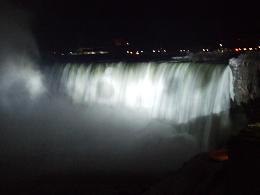 picture of Niagara Falls at night with white lights