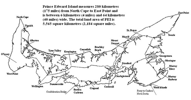 map of Prince Edward Island, PEI, Canada