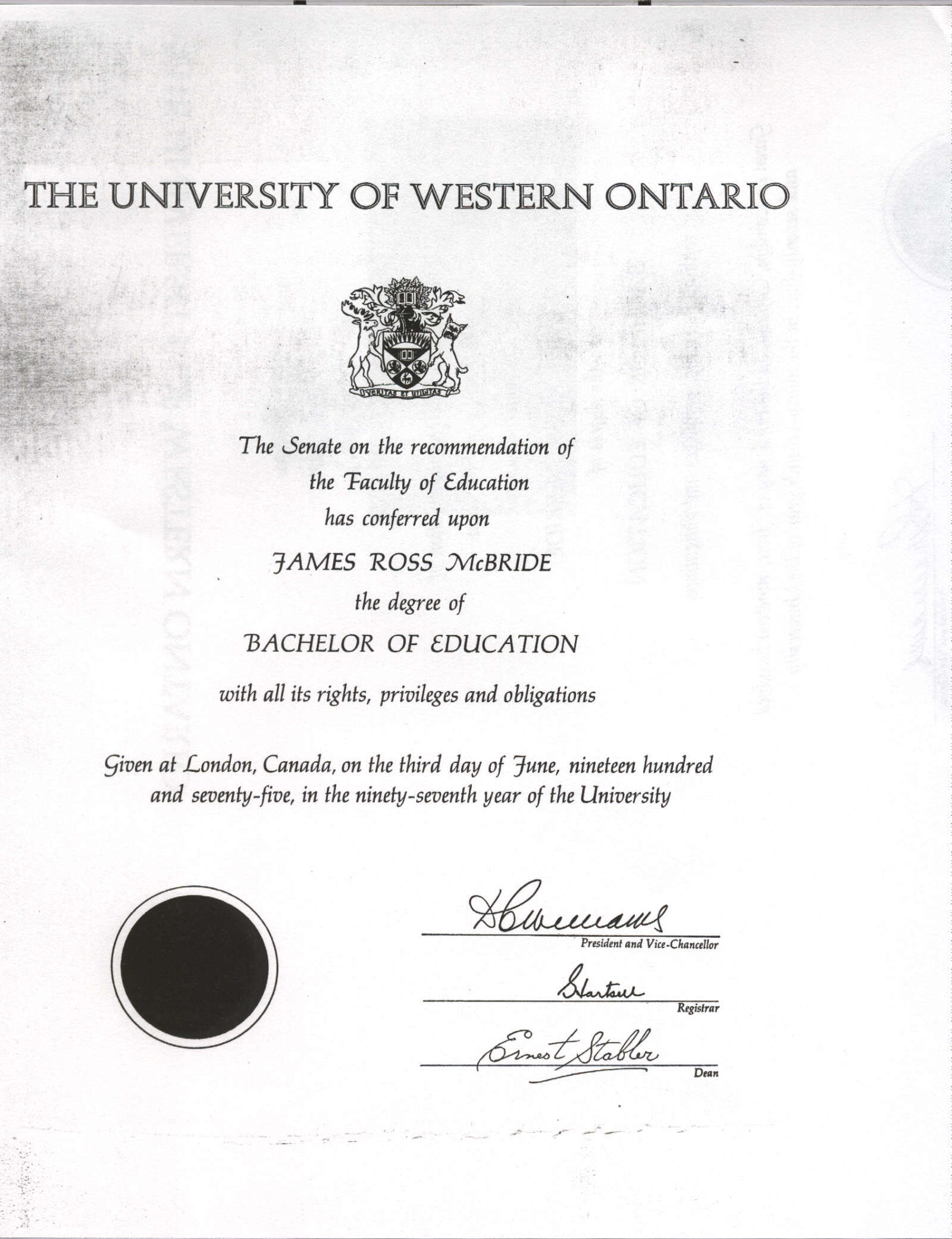 Copy of University of Western Ontario, Bachelor of Education