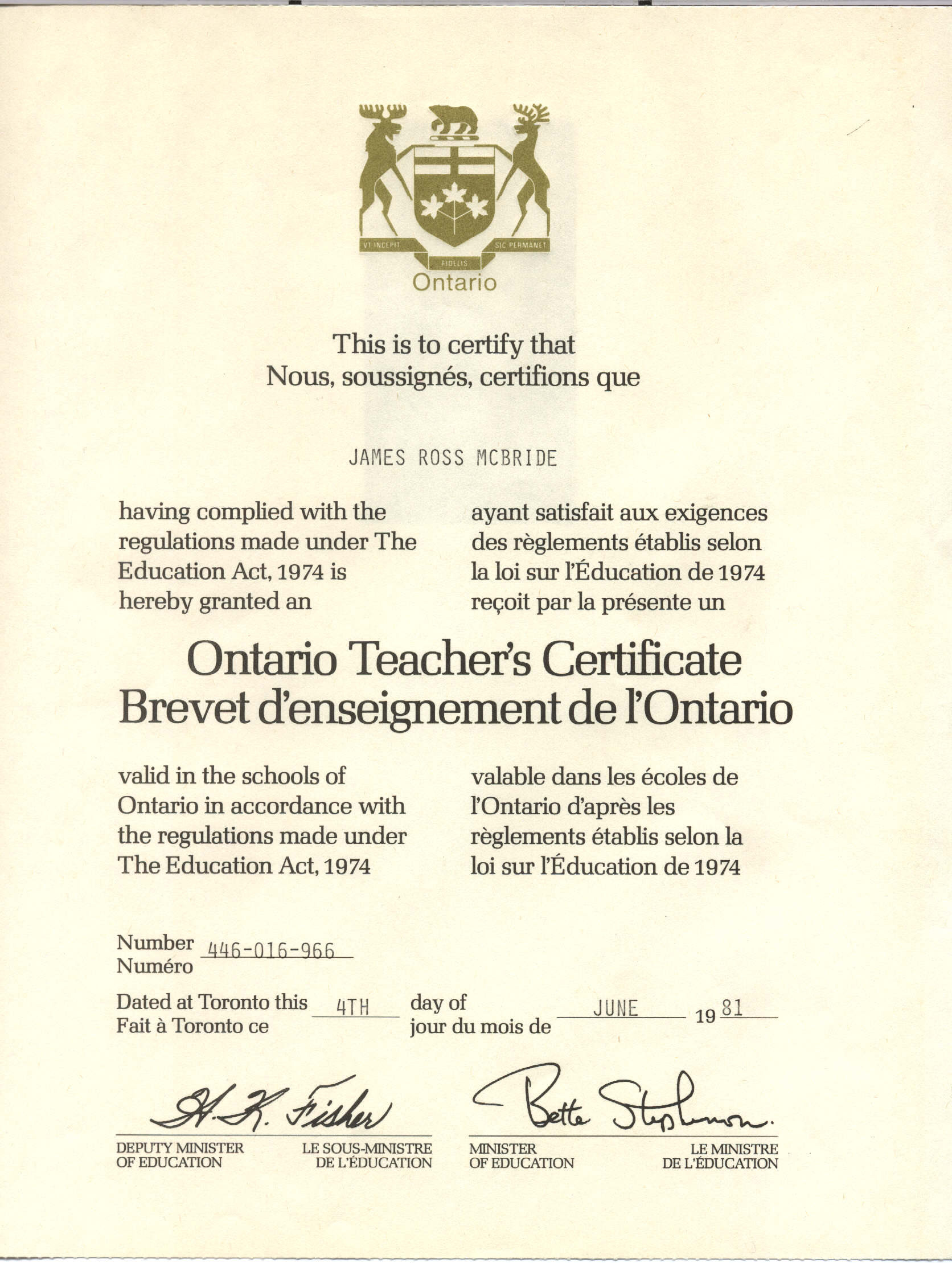 Ontario Ministry of Education, Ontario Teachers Certificate