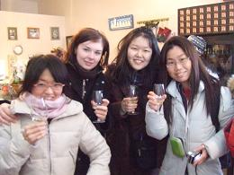 picture of 4 interns at Niagara tour wine tasting