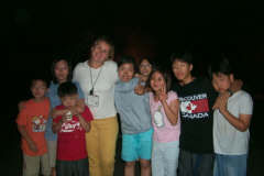 pictures of English students at summer camp fire