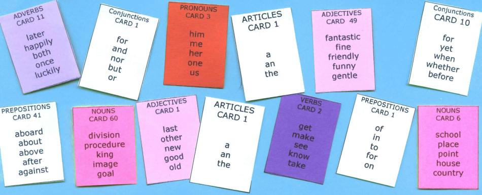 Sentence Master Practice Word Cards 