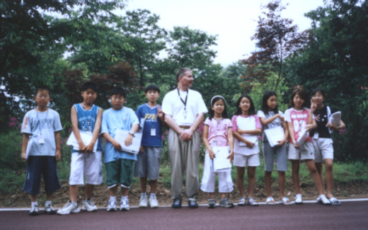 Pictures ESL in Canada 2003 Korea Daewoo Premium English Summer Camp English teacher Ross with English students