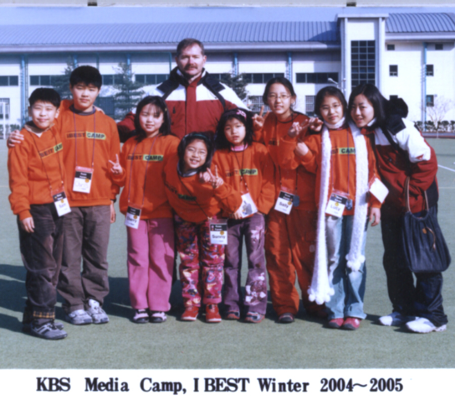 Picture of Ross, KBS Principal in Asan South Korea with students