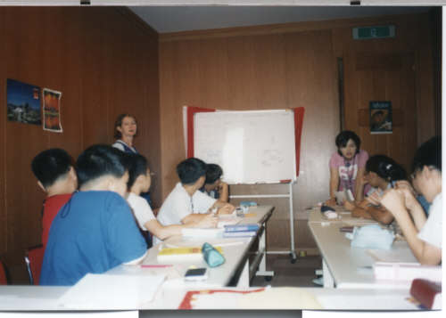 pictures Canadian teachers in English classroom at camp
