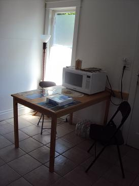picture of student residence kitchen table with microwave